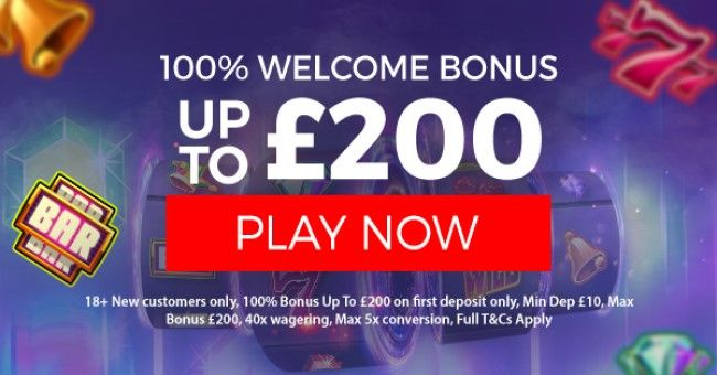 18+ New customers only, 100% Bonus Up To £200 on first deposit only, Min Dep £10, Max Bonus £200, 40x wagering, Max 5x conversion, T&C's apply.